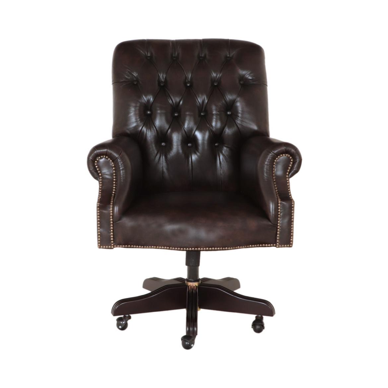 Kancelárske stolička Chesterfield z pravé hovädzej kože