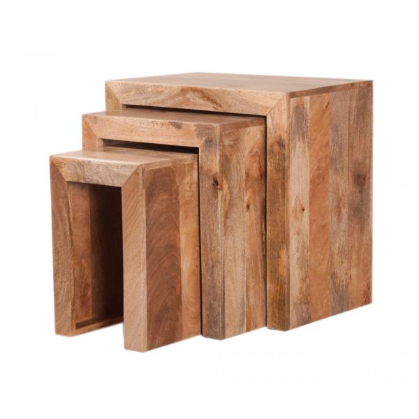 Odkladacie stolíky 3 ks Devi z mangového dreva