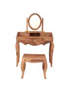 Toaletný stolík s zrkadlom + taburet z masívu palisander