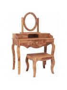 Toaletný stolík s zrkadlom + taburet z masívu Mango
