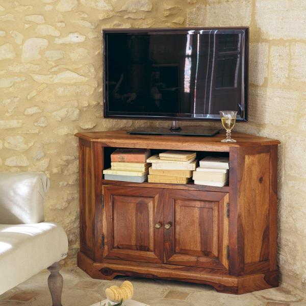 TV stolík rohový z indického masívu palisander