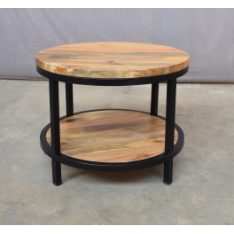 Guľatý konferenčný stolík z mangového dreva